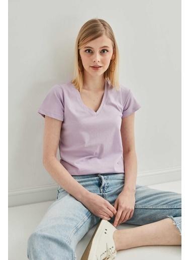 Vitrin V Yaka Kısa Kol Pamuk T-Shirt Lila